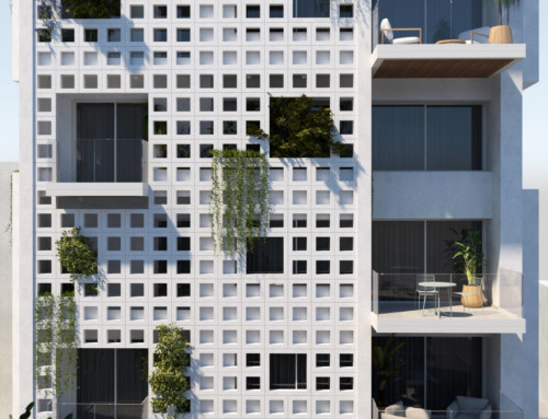 White lattice apartment building in Neo Psychiko